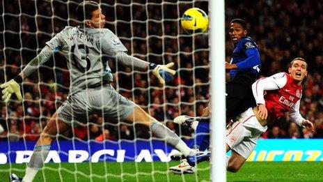 Valencia scoring a header against Arsenal