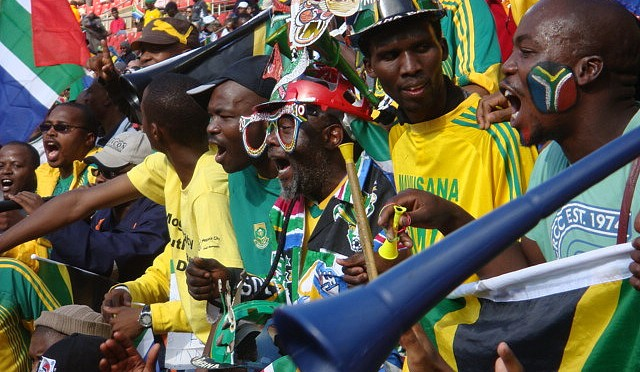 An image of African supporters.